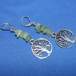 Jewelry - Silver Tree of Life & Aventurine Chip Earrings